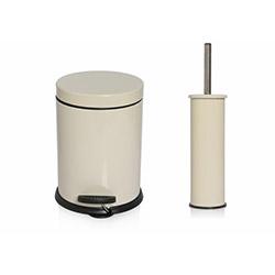 Alper Banyo Pedallı Çöp Kovası ve Klozet Fırçası Seti (Krem) - 3 Litre