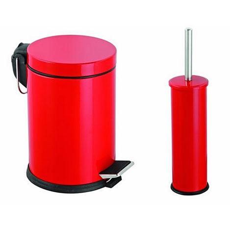 Alper Banyo Pedallı Çöp Kovası ve Klozet Fırçası Seti (Kırmızı) - 3 Litre