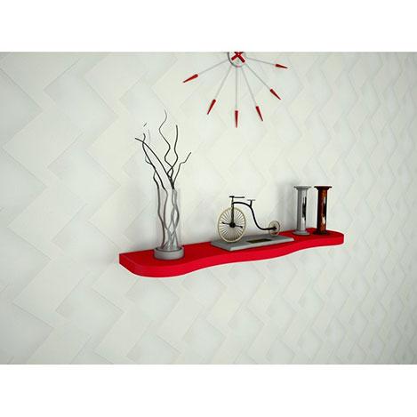 Resim  Ankara Mobilya Yuvarlak Kenarlı Duvar Rafı - Kırmızı