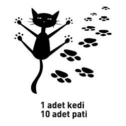 Artikel Kedi Kadife Duvar Sticker