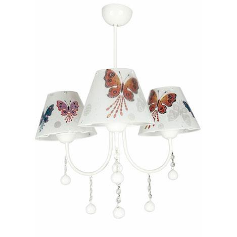 Safir Light 3'lü Modern Kelebek Şapkalı Avize - Beyaz