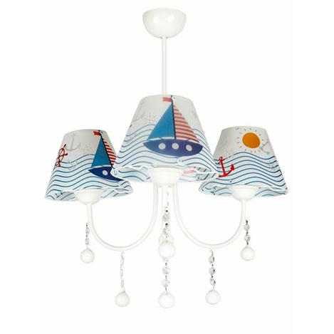 Safir Light 3'lü Denizci Yelkenli Şapkalı Avize - Beyaz / Mavi