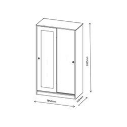 Abre VM-610 Vital Sürgü Kapaklı Aynalı Gardırop - Beyaz / Beyaz Erik