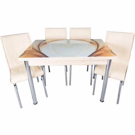 Kristal Yandan Açılır Krom Ayaklı Cam Masa ve 6 Sandalye Takımı - Krem / Karamel