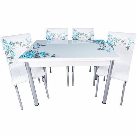 Kristal Yandan Açılır Krom Ayaklı Cam Masa ve 6 Sandalye Takımıı - Beyaz / Turkuaz