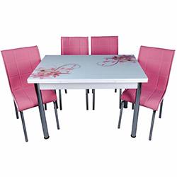 Kristal Yandan Açılır Krom Ayaklı Cam Masa ve 4 Sandalye Takımı - Beyaz / Pembe