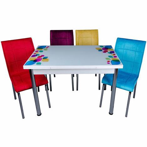 Kristal Yandan Açılır Krom Ayaklı Cam Masa ve 4 Kumaş Sandalye Takımı - Beyaz / Renkli