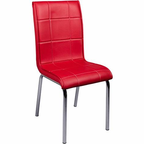 Resim  Kristal Monopetli Deri Sandalye - Kırmızı