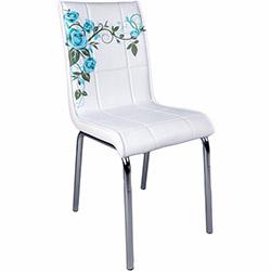 Kristal Turkuaz Gül Dalı Monopetli Deri Sandalye - Beyaz / Turkuaz