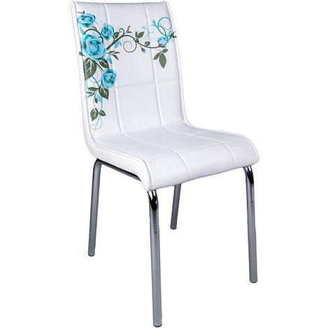 Resim  Kristal Turkuaz Gül Dalı Monopetli Deri Sandalye - Beyaz / Turkuaz