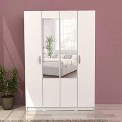 House Line Triple Aynalı 4 Kapılı Gardırop - Beyaz