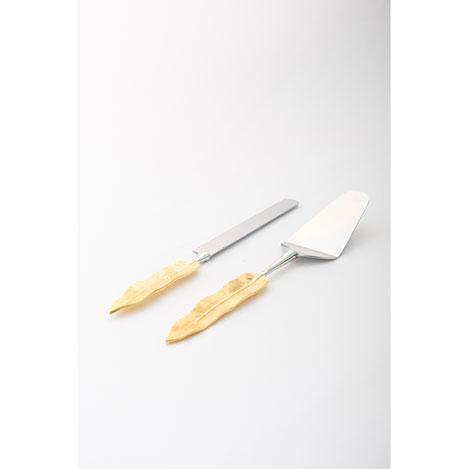 Casa di Mona 2'li Pirinç-Çelik Yaprak Pasta Servis Takımı