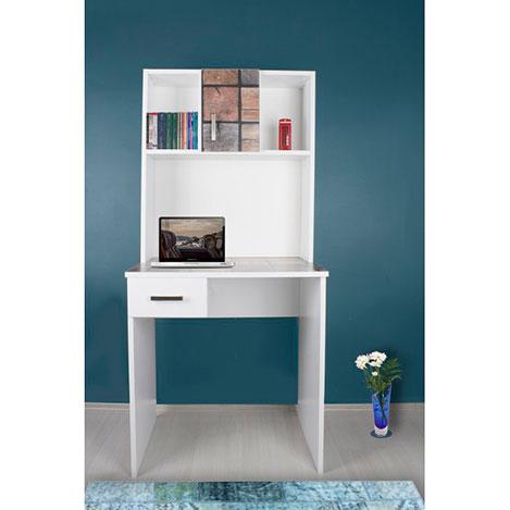Resim  Adetto Boraks Kitaplıklı Çalışma Masası - Beyaz / Wood Cube