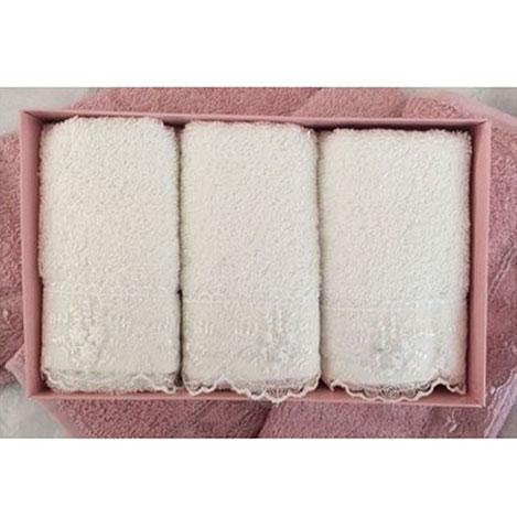 Resim  Cotton Box 6'lı Güpürlü Havlu Seti - Ekru