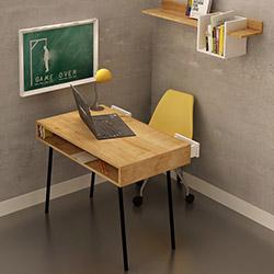 Fly 2 Çekmeceli Metal Ayaklı Çalışma Masası - Safir Meşe / Beyaz