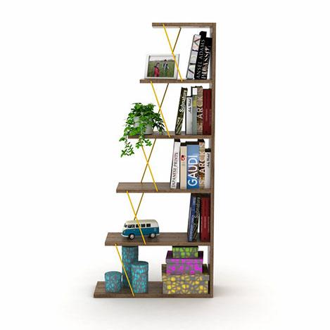 Rafevi Tars Mini Kitaplık - Ceviz / Sarı