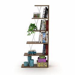 Rafevi Tars Mini Kitaplık - Ceviz / Krom