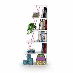 Rafevi Tars Mini Kitaplık - Beyaz / Pembe