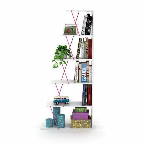 Resim  Rafevi Tars Mini Kitaplık - Beyaz / Pembe