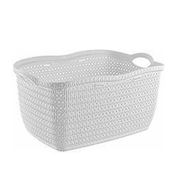 Alper Banyo Örgü Köşeli Çamaşır Sepeti - Beyaz