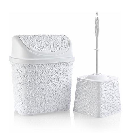 Alper Banyo Dantel Klik Çöp Kovası  + Klozet Fırçası Seti - Beyaz