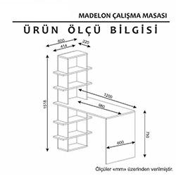 Minar Madelon Çalışma Masası - Beyaz / İstanbul Cevizi