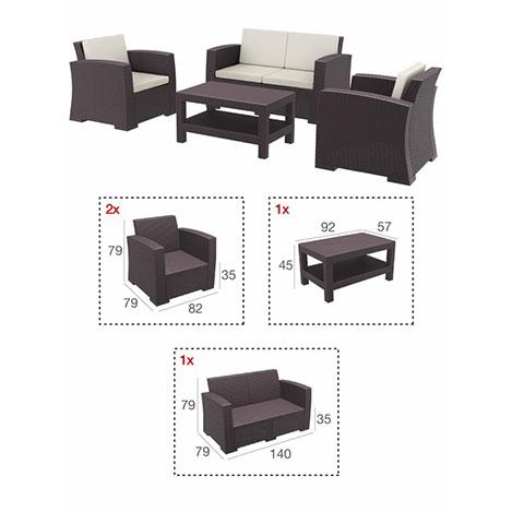 Resim  Siesta 835 Monaco Lounge Bahçe Seti