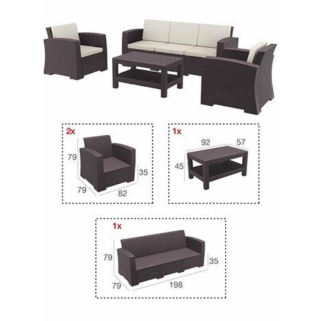 Resim  Siesta 836 XL Monaco Lounge Bahçe Seti