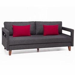 Evdebiz Comfort Yaşam Serisi Kırmızı Yastıklı Yataklı Kanepe - Gri