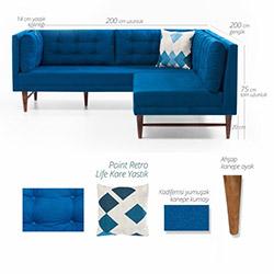Evdebiz Point Retro Life Sağ/Sol Mini Köşe Koltuk - Saks Mavi