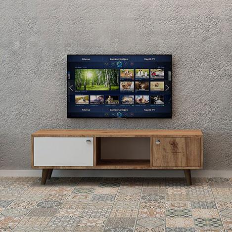 Fly Mobilya 2 Kapaklı Orta Raflı Tv Ünitesi - Atlantik Çam
