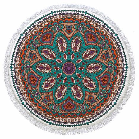 Resim  Ecemere 150-67 Püsküllü Yuvarlak Plaj Havlusu - 155x155 cm