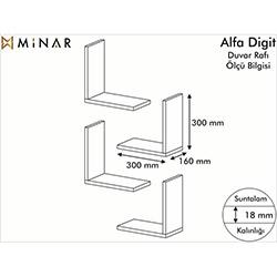 Minar Alfa Digit Duvar Rafı - Beyaz