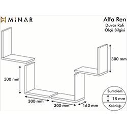 Minar Alfa Ren Duvar Rafı - Beyaz