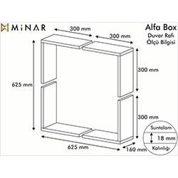 Minar Alfa Box Duvar Rafı - Beyaz