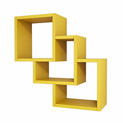 Minar Three Box Duvar Rafı - Koyu Sarı
