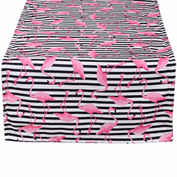 Aliz Çizgili Flamingo Runner (Siyah) - 44x144 cm