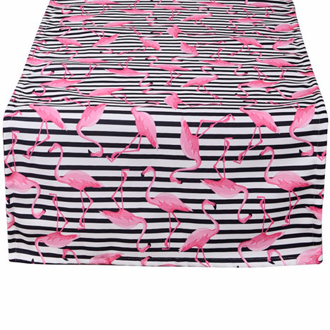 Resim  Aliz Çizgili Flamingo Runner (Siyah) - 44x144 cm