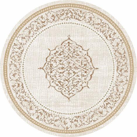 Resim  Brillant 802 Firuze Püsküllü Yuvarlak Halı - 150x150 cm