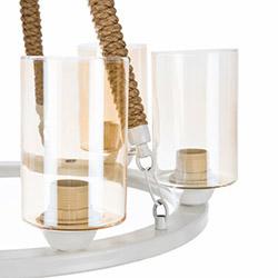 Safir Light Celine 6'lı Halatlı Camlı Avize - Beyaz