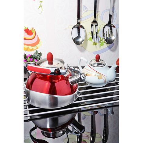 Resim  Kitchen World CAY-02 Porselen Demlikli Çelik Kettle Çaydanlık