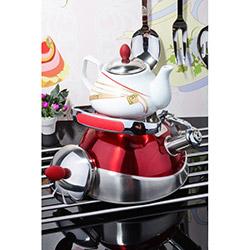 Kitchen World CAY-02 Porselen Demlikli Çelik Kettle Çaydanlık