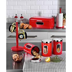 Kitchen World 6 Parça Lüx Metal Kırmızı Mutfak Seti