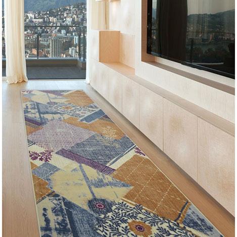 Resim  Confetti Ordüzü Halı (Petrol Mavi) - 100x350 cm