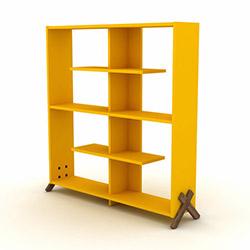 Rafevi Kipp Kitaplık - Ceviz / Sarı