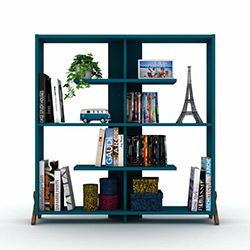 Rafevi Kipp Kitaplık - Ceviz / Mavi