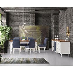 House Line Frezya Masa Sandalye ve Konsol Takımı - Ceviz / Beyaz / Lacivert