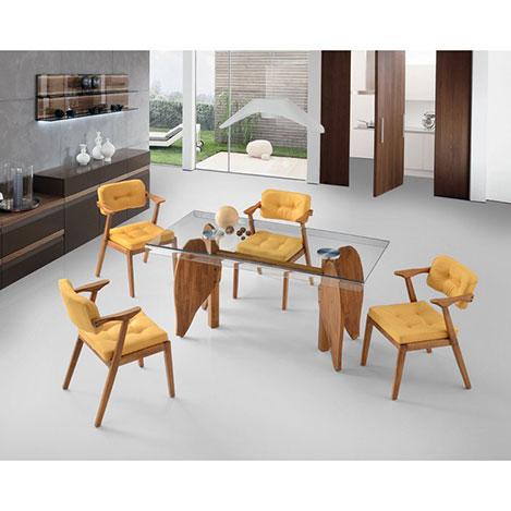 Resim  House Line Mimoza Masa Sandalye Takımı - Şeffaf / Sarı / Ceviz