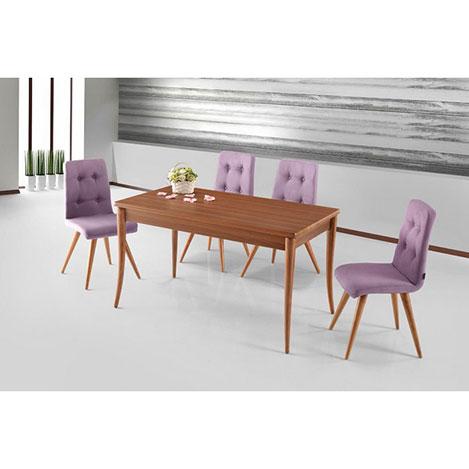 Resim  House Line Morganit Masa Sandalye Takımı - Ceviz / Lila