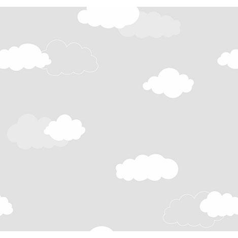 Milky Baby 405-1 Bulut Desenli Çocuk Duvar Kağıdı (5 m²)
